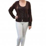 Bluza deosebita, de culoare maro, decorata cu paiete stralucitoare
