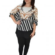 Bluza eleganta Anemona, model abstract,nuanta alb-negru