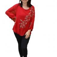 Bluza eleganta cu aplicatii deosebite Dakota,nuanta de rosu