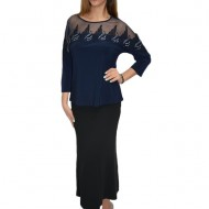 Bluza eleganta office ,model desebit ,nuanta bleumarin