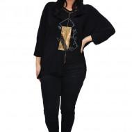 Bluza eleganta Uma cu insertii de strasuri ,nuanta de negru