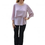 Bluza Hanna cu aplicatii de strasuri pe voal ,nuanta de pudra