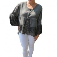 Bluza lejera Carina cu insertii de dantela, nuanta de gri