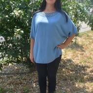 Bluza lejera cu maneca scurta si design de paiete, albastra