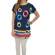 Bluza lejera de zi, cu imprimeu de cercuri multicolor, pe fundal bleumarin