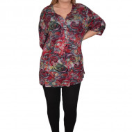 Bluza lejera de zi, model multicolor abstract cu nasturi, in nuanta de rosu