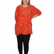 Bluza lejera, model vintage cu fluturi, in nuanta de rosu