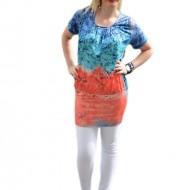 Bluza lunga tip tunica, culoare bleumarin-corai, model tineresc