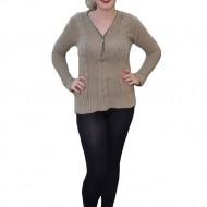 Bluza moderna, crem, cu model clasic de impletitura