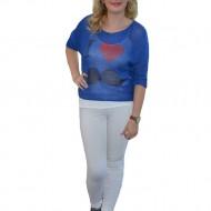 Bluza moderna, de culoare bleumarin, albastru cu rosu