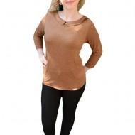 Bluza moderna, de culoare maro, aspect catifelat de animal-print