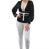 Bluza moderna, de culoare neagra, decorata cu detalii albe