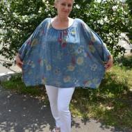 Bluza moderna de vara , cu imprimeu floral, nuanta de albastru