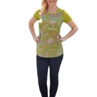 Bluza moderna de vara cu imprimeu multicolor pe fond verde