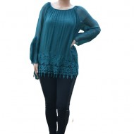 Bluza moderna Kara cu insertii de broderie si dantela,nuanta de verde