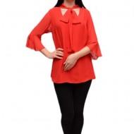 Bluza rosie din material subtire tip voal, cu maneca trei-sferturi