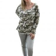 Bluza trendy cu maneca lunga, masura mare, nuanta verde cu alb