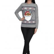 Bluza tricotata ,imprimeu cu Mos Craciun,nuanta gri