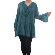 Bluza vaporoasa Alia cu insertii de broderie si paiete la decolteu,nuanta de verde