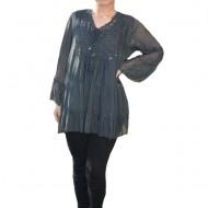 Bluza vaporoasa Alia cu insertii de broderie si paiete la decolteu,nuanta de gri