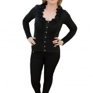 Bluze cu maneca lunga, negre, de zi cu nasturi