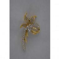 Brosa trendy, nuante de auriu, argintiu si multicolor, motiv floral