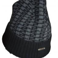 Caciula de iarna pentru barbati, material calduros negru-gri