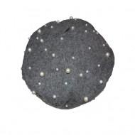 Caciula rafinata cu design de perle albe, nuanta de gri