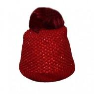 Caciula trendy de iarna cu strasuri aplicate, material rosu tricotat