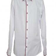 Camasa rafinata pentru barbati, alba cu paspoal rosu deosebit