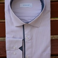 Camasa trendy cu maneca lunga, nuanta alba cu design de dungi