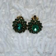 Cercei rotunjiti cu aspect clasic, din cristale negre, verzi si strasuri
