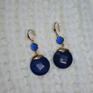 Cercei tip sarpe auriu, argintiu si model rotund albastru, marsala