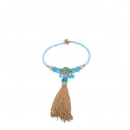 Colier fashion, nuanta de albastru, pietre rafinate, lant auriu