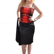 Costum de ocazie cu corset rosu si fusta neagra, realizat din saten