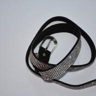 Curea argintie de ocazie, decorata cu insertii de cristale fine