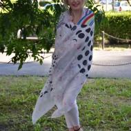 Esarfa de zi din vascoza fina, design multicolor cu buline, flori