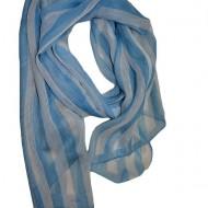 Esarfa rafinata de dama, culoare alba cu design de dungi albastre