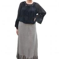 Fusta Ava lunga din tricot si insertii de dantela,nuanta de crem