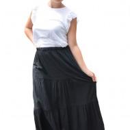 Fusta Denisse, model simplu cu elastic in talie, nuanta de negru