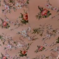 Fusta lejere, midi, nuanta de piersica, cu imprimeu floral multicolor