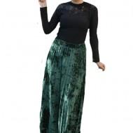 Fusta lunga Stephanie ,plisata din catifea,imprimeu rafinat,verde