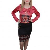 Fusta moderna, neagra, cu design rosu si insertii de fermoare