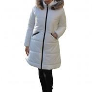 Jacheta Alice ,lunga,design lucios,nuanta de alb