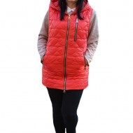 Jacheta tip vesta Denise cu model asimetric, 3d-heart ,nuanat de rosu