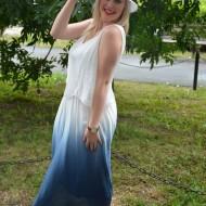 Palarie clasica de vara, culoare alba, cu panglica colorata atasata