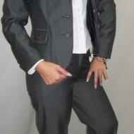 Pantalon casual la dunga, de culoare gri, model lung din stofa