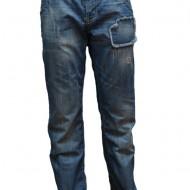 Pantalon de blug de culoare albastra, cu model cu aspect uzat