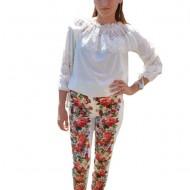 Pantalon feminin cu imprimeu floral multicolor pe fond alb