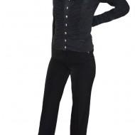 Pantalon fin, nuanta de negru, detaliu auriu aplicat